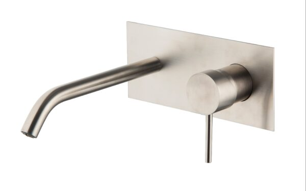 Sanistunter - Fima serie Spillo Steel inbouw wastafelkraan inox uitloop 20cm